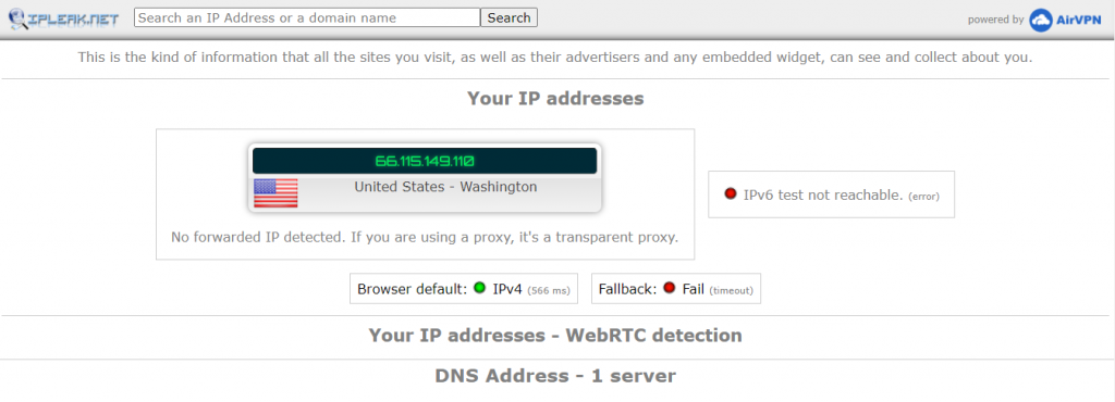 mullvad review- dns leak test
