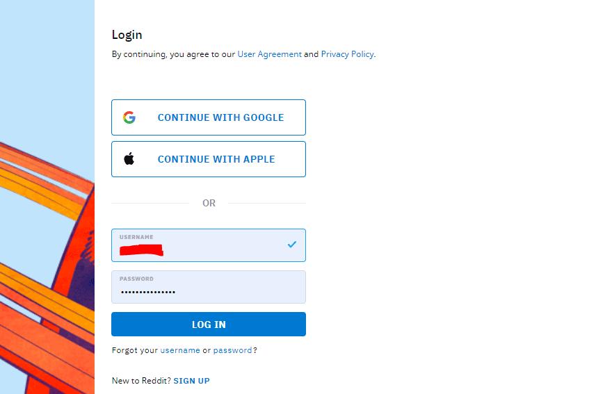 step 1 login reddit account