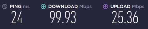 speedtest result connection